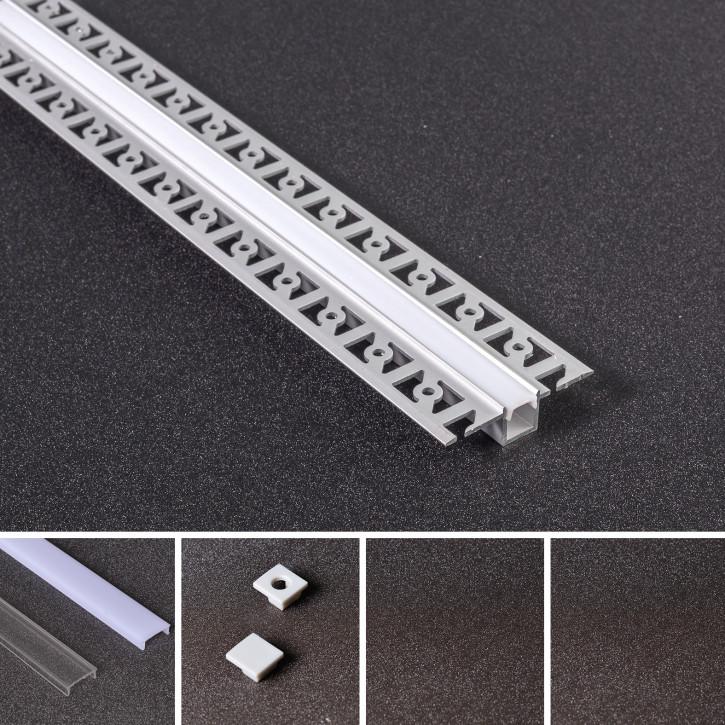 LED Alu Unterputz Profil Z-5213 inkl. Abdeckung matt 2000mm