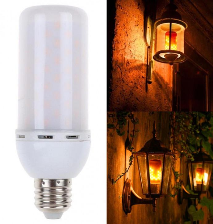 E27 5w LED Birne 1200 Kelvin mit Flammen Effekt kurz, 3 Programme!