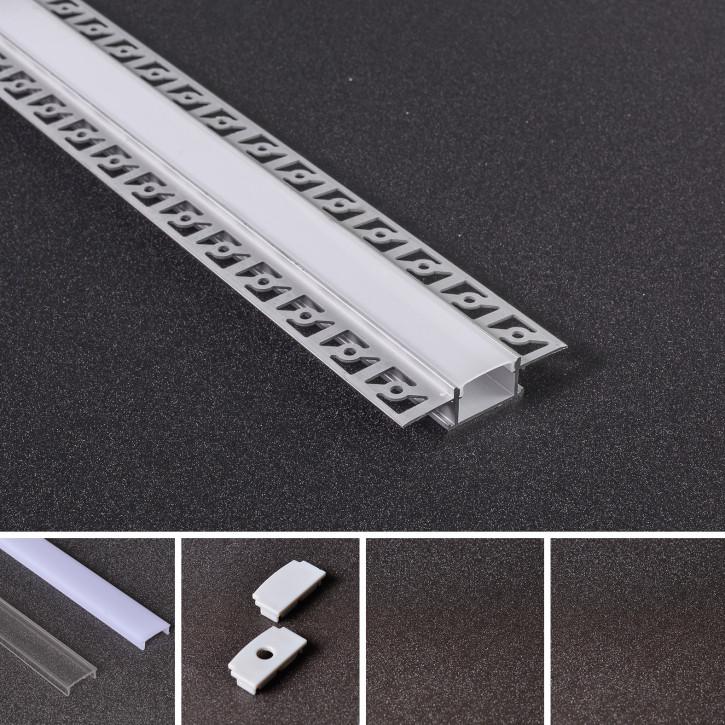 LED Alu Unterputz Profil Z-6114 inkl. Abdeckung matt 2000mm