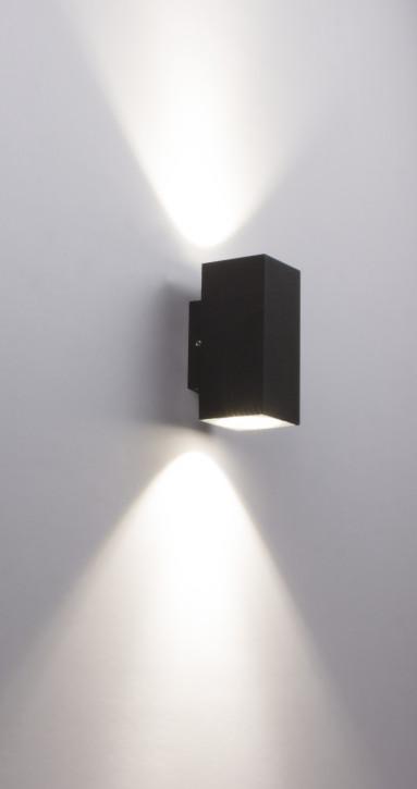 """kleine 2x 3w LED Wandleuchte aussen """"UP and Down"""" eckig Aluminium anthrazit C1007"""