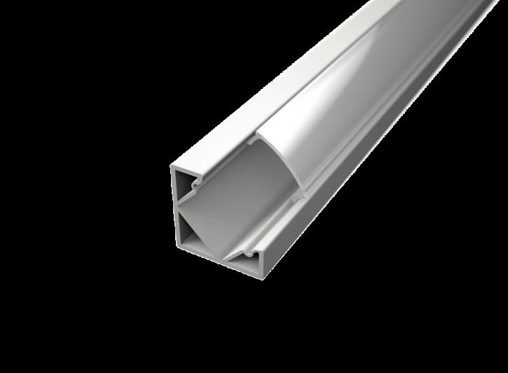 LED Alu Eck-Profil Corner 1 1818 white edition inkl. Abdeckung matt 2000mm