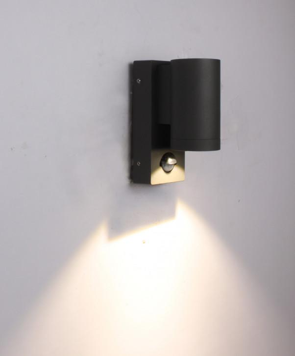 """kleine 3w LED Wandleuchte aussen """"Down"""" rund mit Bewegungsmelder Aluminium anthrazit C1006 PIR"""