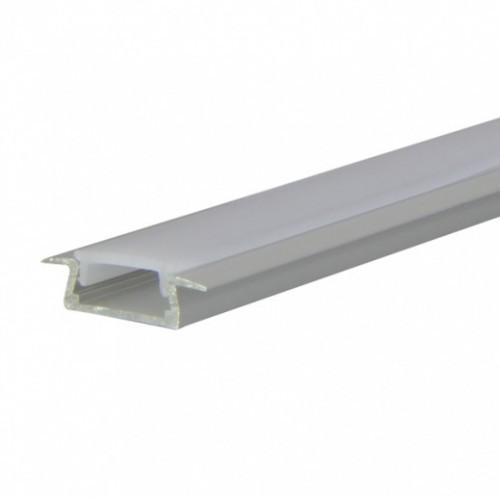 LED Alu Profil T-2309 seicht inkl. Abdeckung matt 2000mm