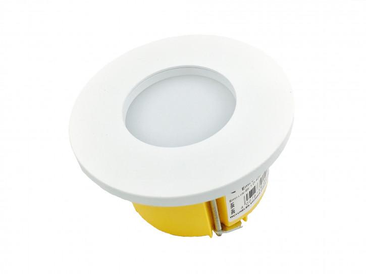 3w Einbauleuchte für ISO Unterputzdose / Hohlwanddose warmweiss Weiss Pulverbeschichtet