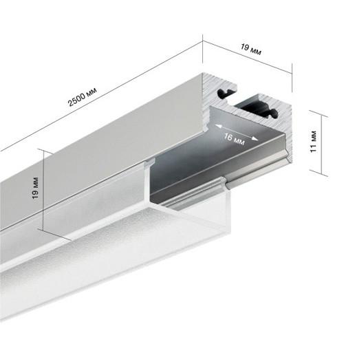 LED Alu Profil 1119 inkl. Abdeckung matt 2000mm