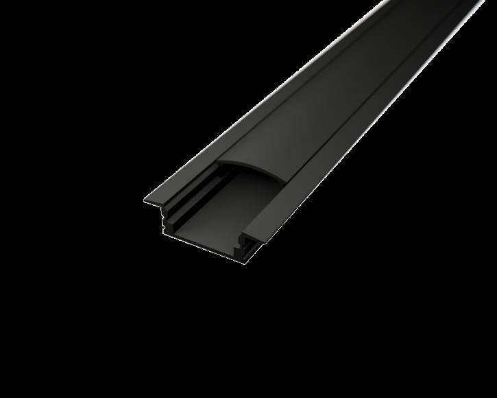 LED Alu Profil T-2309 seicht black edition inkl. Abdeckung matt 2000mm