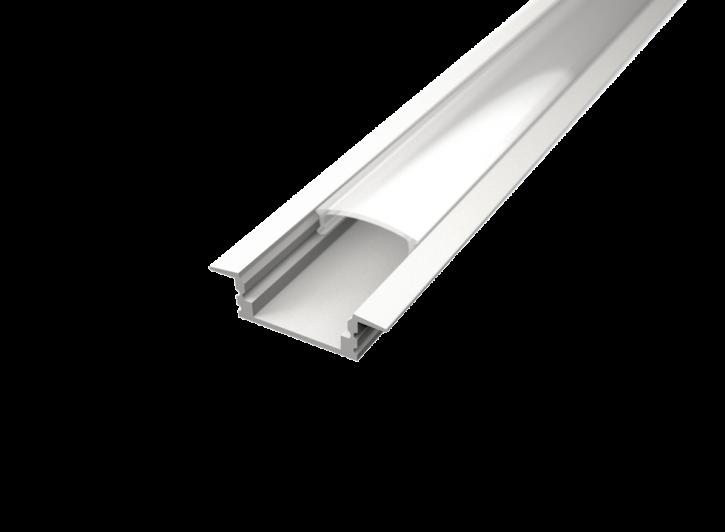 LED Alu Profil T-2309 seicht white edition inkl. Abdeckung matt 2000mm