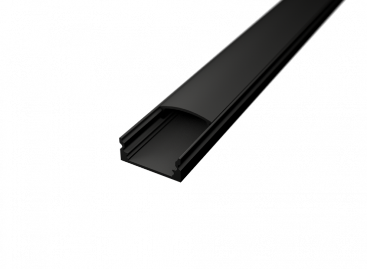 LED Alu Profil Standard 1 S-1709 black edition inkl. Abdeckung schwarz 2000mm