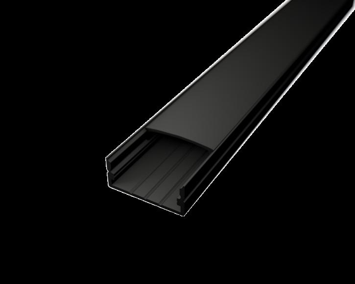 LED Alu Profil Standard 2 S-2310 black edition inkl. Abdeckung schwarz 2000mm