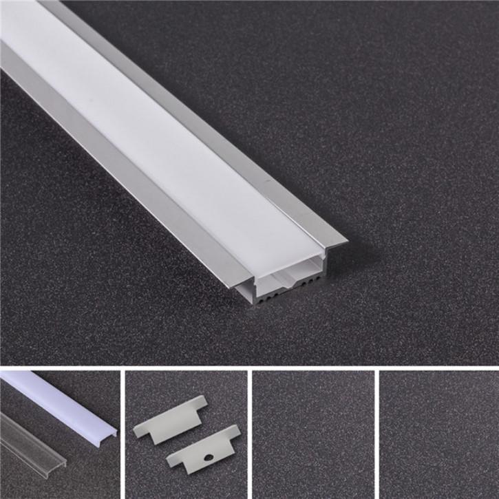 LED Alu Profil T-5614 breit inkl. Abdeckung matt 2000mm