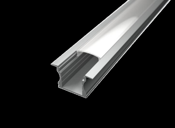 LED Alu T-Profil tief inkl. Abdeckung matt 2000mm