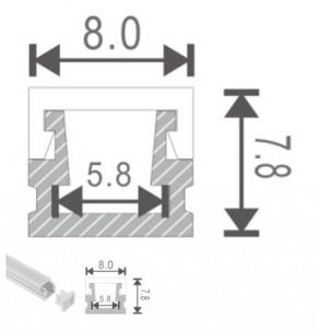 LED Alu Profil S-0808 inkl. Abdeckung matt 2000mm