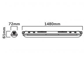 55w LEDom Tri-Proof Feuchtraum Aktions Leuchte 152cm