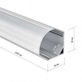 LED Alu Eck-Profil 3030 rund inkl. Abdeckung matt 2000mm