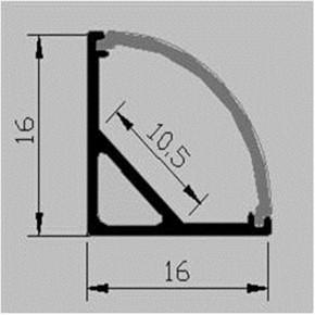 LED Alu Eck-Profil Corner 2 1616 inkl. Abdeckung matt 2000mm