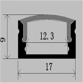 LED Alu Profil Standard 1 schmal inkl. Abdeckung matt 2000mm