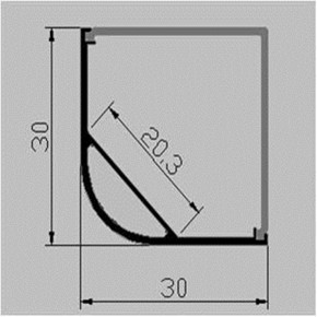 LED Alu Eck-Profil 3030 eckig inkl. Abdeckung matt 2000mm