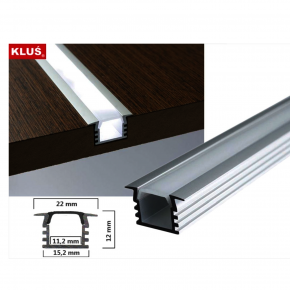 LED Alu T-Profil tief inkl. Abdeckung matt 2500mm